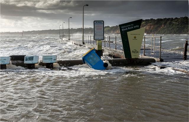 The main jetty entrance  and HMVS Cerberus display gets a bath