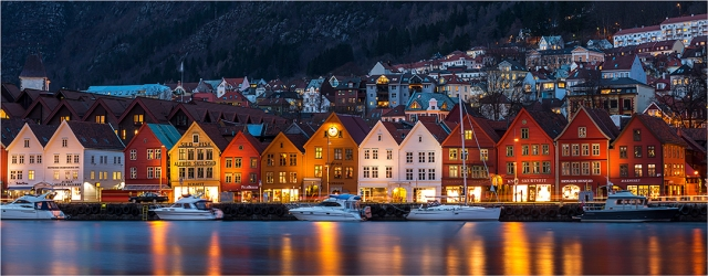 Bergen Waterfront By Night - Greg Earl